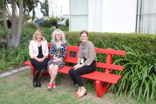 The new red bench at Bundaberg Hospital is about raising awareness about domestic and family violence so people make a stand against it.