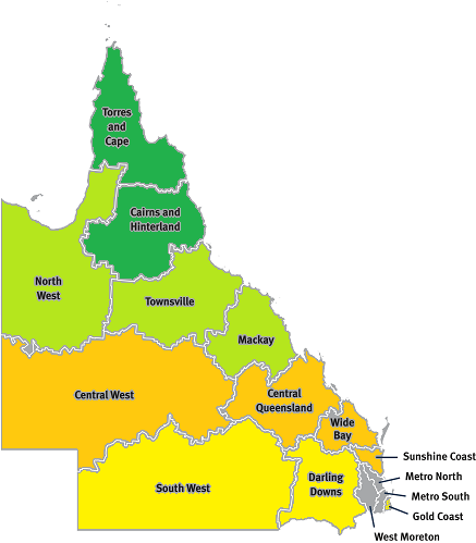 Map of Queensland showing regions for each specialist palliative care clinic hub. Darling Downs and South West Queensland have access via the Gold Coast Clinical Hub. Central West, Central Queensland and the Wide Bay area have access via the Sunshine Coast Clinical Hub. North West Queensland, the Townsville region and the Mackay region have access via the Townsville Clinical Hub. Torres and Cape and of the Cairns and Hinterland regions have access via the Cairns Clinical Hub.