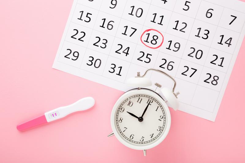 A calendar a clock and a pregnancy test