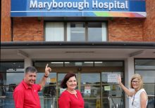 Assistant Minister for Health Julieanne Gilbert, Member for Maryborough Bruce Saunders and WBHHS Chief Executive Debbie Carroll looking forward to upgrades to roofs at Maryborough Hospital.