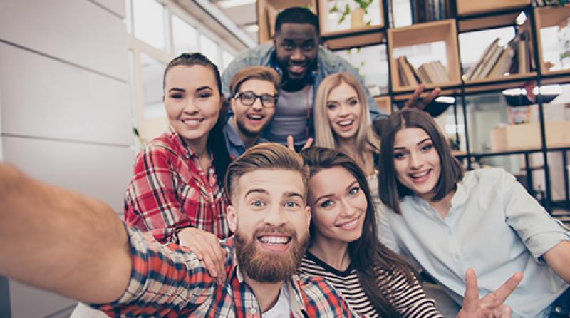 A group of friends in taking a selfie