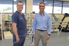 of Emergency Physiotheraphy Practitioner Campbell Murfin (left) and Director of Physiotherapy Tyrone Kolbe, finalists in the 2019 CQ Health Staff Recognition Awards