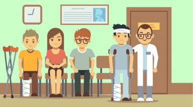 A cartoon of people waiting at a hospital, one person has bandages wrapped around them, one has crutches, another bandages, another is a doctor.