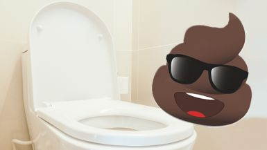 A cartoon image of a poo with a smiley face and sunglasses sits on top of a white toilet.