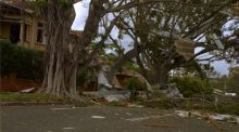 A tree branches and other debris cover a road after a storm in Queensland.