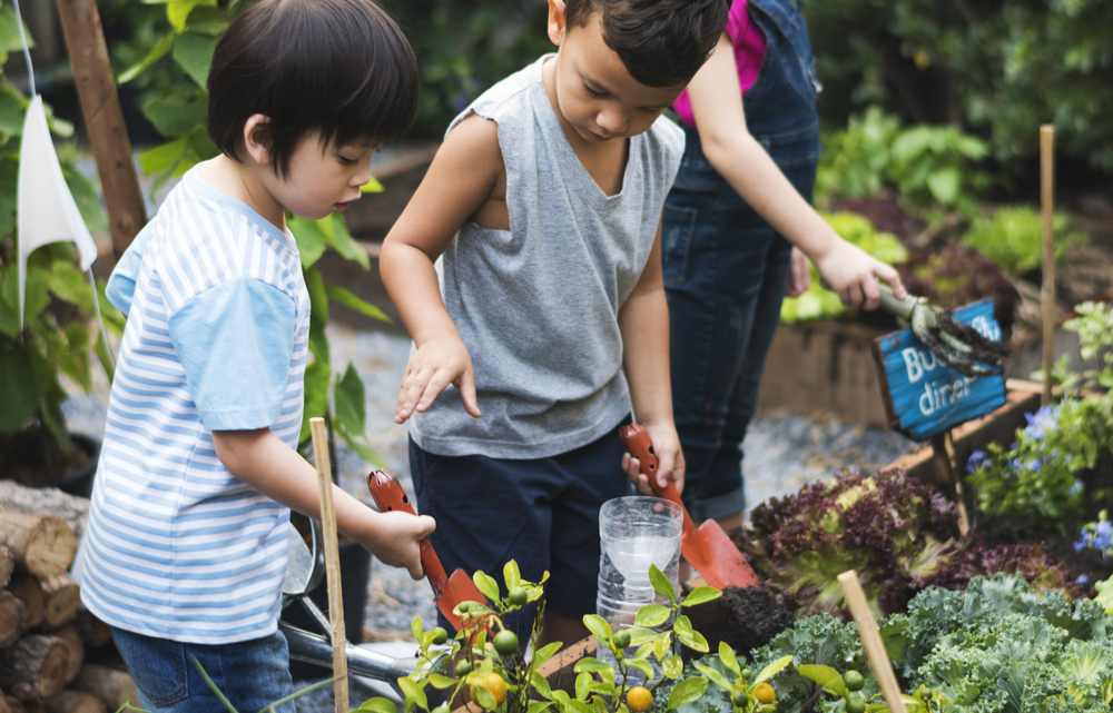 Three young children stand in a gardening, one pulls at a plant.