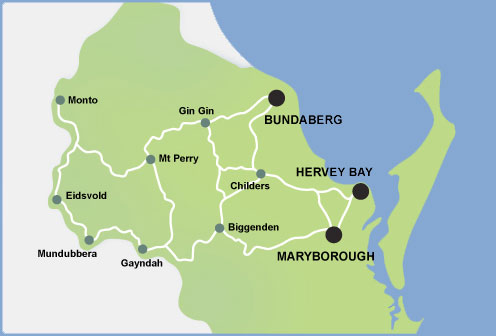 Map of Wide Bay Hospital and Health Service