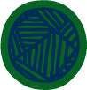 green and blue circular motif