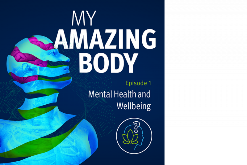 A graphic of a human head and shoulders with the words My Amazing Body Episode 1 Mental Health and Wellbeing