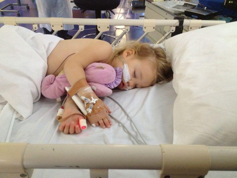Jewel Ostler in hospital after her accident.