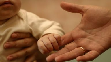 Baby holding a man's hand