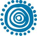 blue circular motif with dots