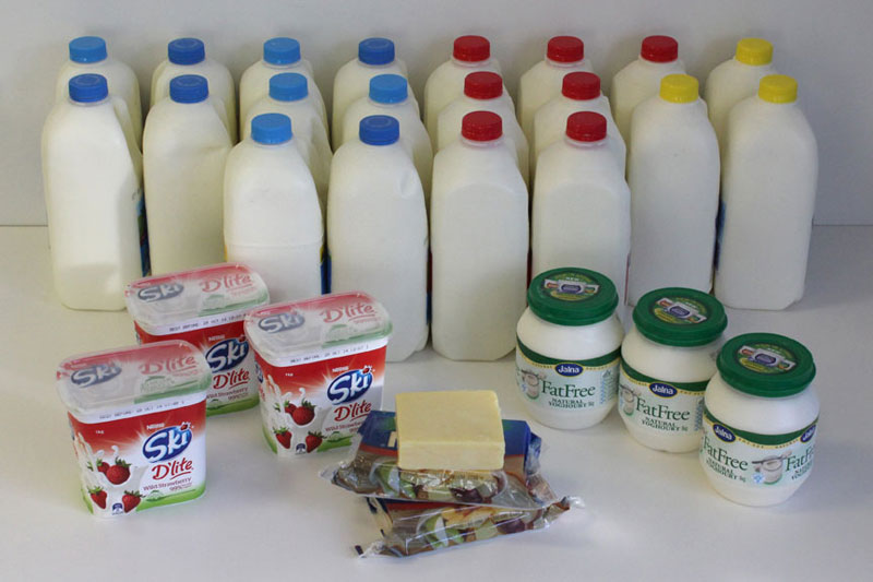 Quality of milk yoghurt and cheese for six person household