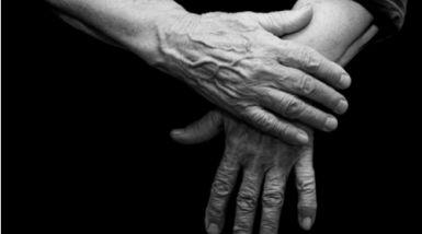 A pair of elderly hands