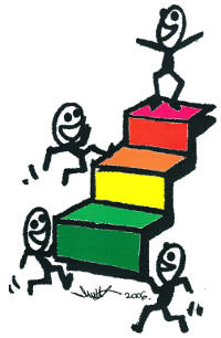 STEPS Icon, an artists drawing of people on coloured steps