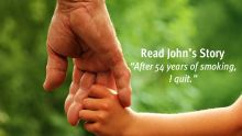 Image of elderly man holding grandchild's hand with the text