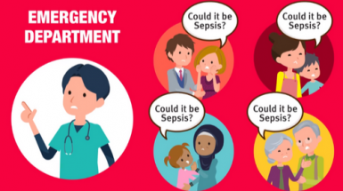 Illustration of an ER doctor and four groups of people asking 'Could it be sepsis?'