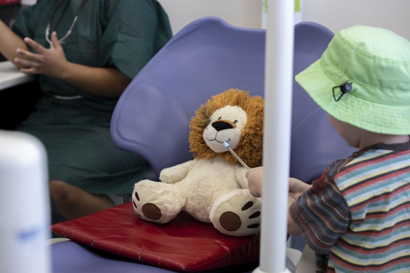 Dr Singh lets a little boy use dental tools on his toy lion