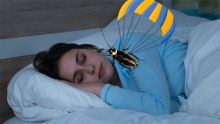 Image of person sleeping while a cockroach is falling from the sky towards their face