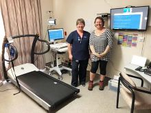 Clinical Nurse Tammy Peters with Shannon Knapman, the first patient to use Emerald's new telehealth exercise stress test service
