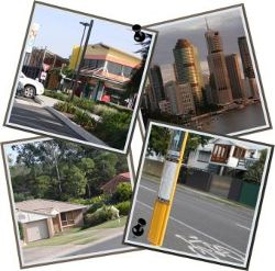 images from the community; city buildings, houses, shops, public transport