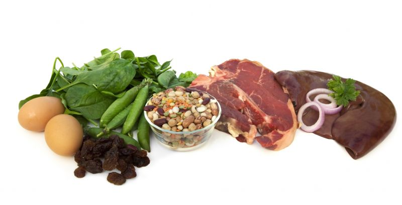 Examples of iron-rich food - eggs, spinach, green peas, sultanas, beans and legumes, red meat, liver