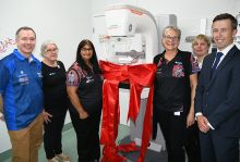 FROM LEFT: CQ Health Chief Executive Steve Williamson, BreastScreen Rockhampton radiographers Joanne Wade, Joshna Govender and Bernadette Gallagher, with Siemens Healthineers' Application Specialist Manu Goldman and Account Manager Peter Linskey.