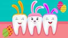 Cartoon teeth with bunny ears