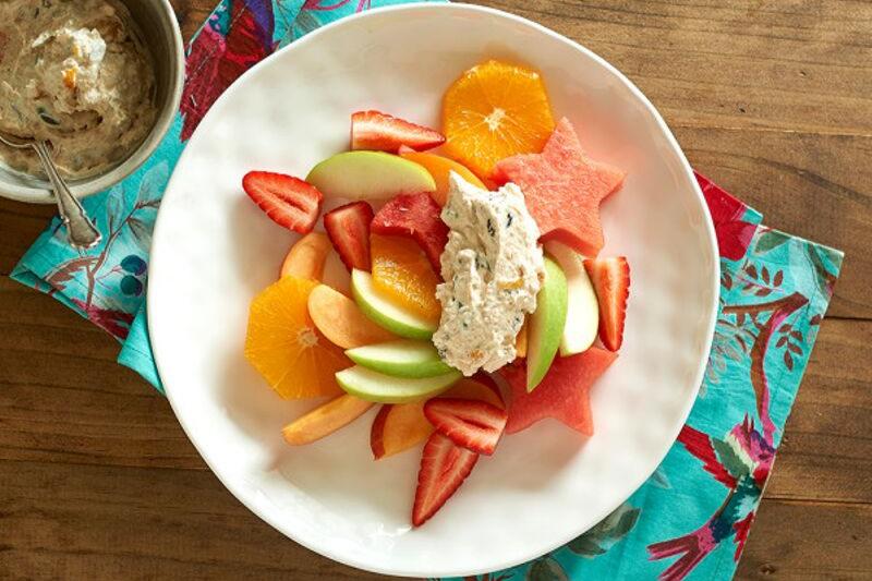 Fresh fruit platter with muesli yoghurt
