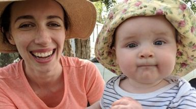 Emily with her baby daughter.