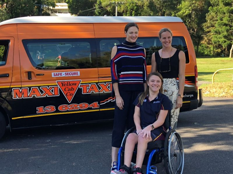 Jamie with swimmers Cate and Bronte Campbell.